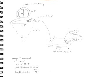 Final measurements sketch for orange peeler